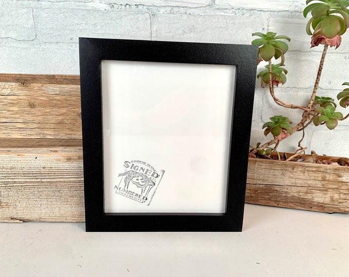 """6.75x8.25"""" Picture Frame - SHIPS TODAY - 1x1 Flat Style with Solid Black Finish - In Stock - 6.75 x 8.25 Odd Size Picture Frame"""