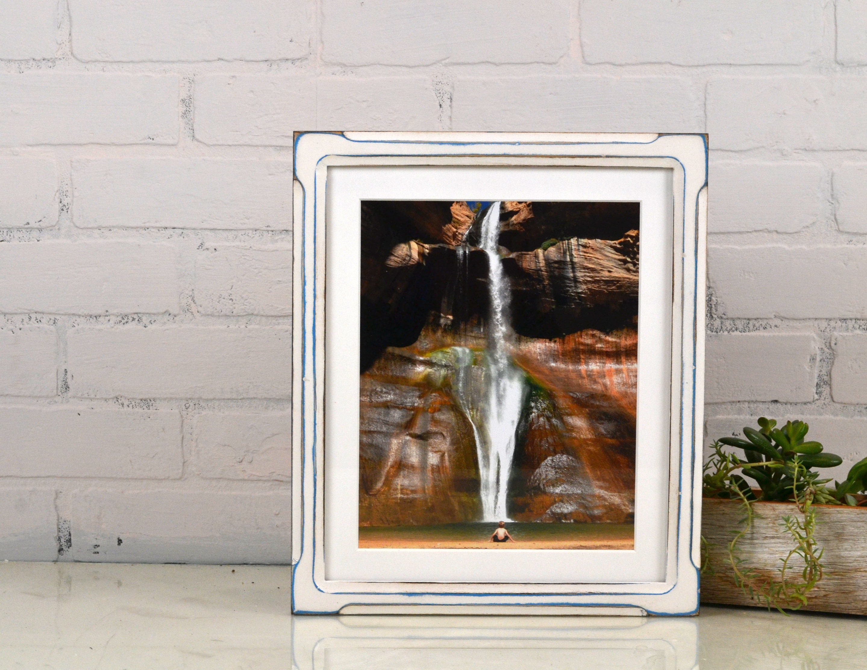 10x12 Picture Frame In Shallow Bones Style With Vintage Blue Under