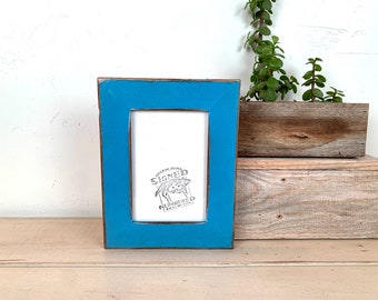 """4x6 Picture Frame  - SHIPS TODAY - 1.5"""" Reclaimed Cedar Wood with Super Vintage Cobalt Blue Finish - In Stock - 4 x 6 Rustic Frame"""