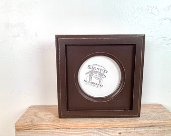 4x4 Circle Frame - SHIPS TODAY - Vintage Chocolate Brown Finish Outside Cove Build up Edge Circle Opening Frame - In Stock - 4 x 4 Round