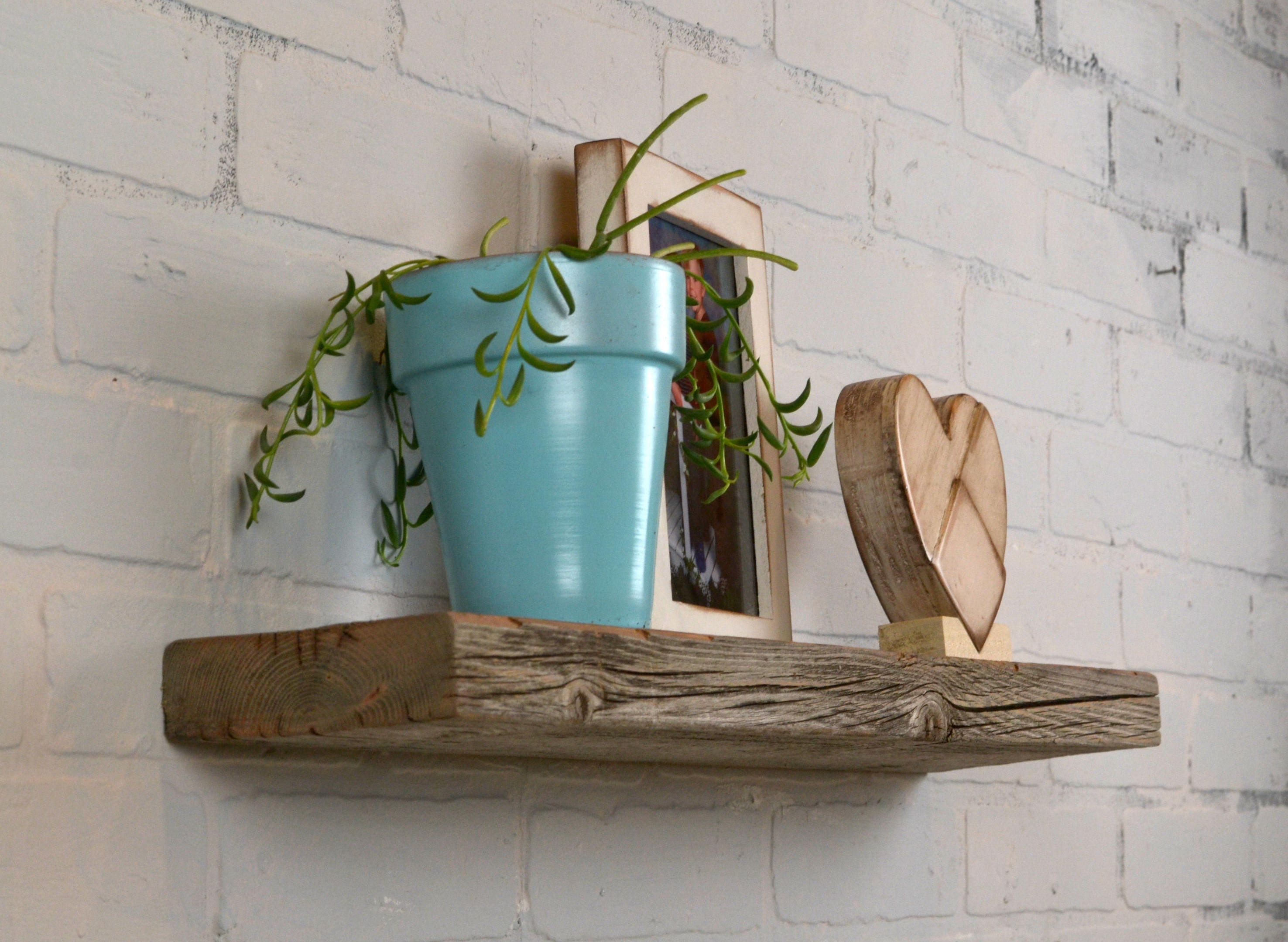 Floating Shelf Reclaimed Wood - 24 Wide Rustic Float Shelf