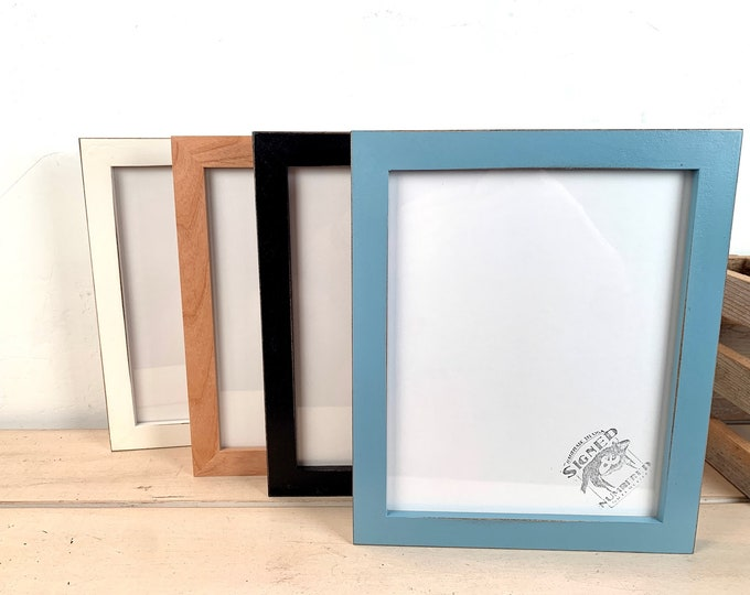 """8x10"""" Picture Frame - BEST SELLERS - 1x1 Flat Style - Choose Your Color - 8 x 10 Solid Hardwood- Ships ASAP - Frames On Sale"""