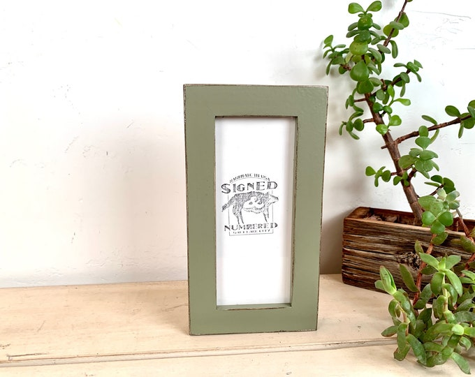 """3x7"""" Picture Frame SHIPS TODAY - 1x1 Flat Style on Poplar with Vintage Old Green Finish - In Stock - SALE 3 x 7 inch Photo Frame"""