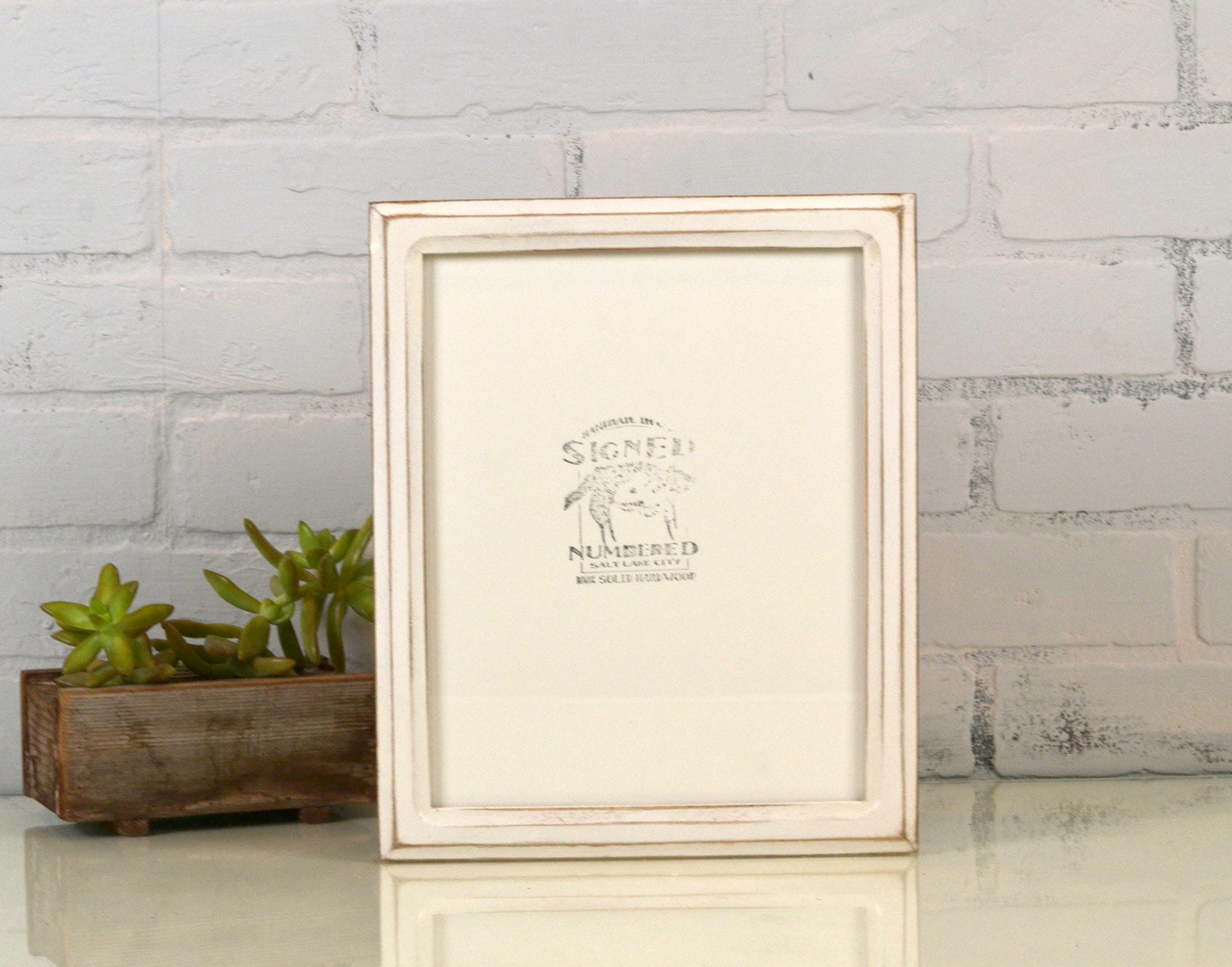 8x10 Picture Frame in Double Cove Style with Vintage White Finish ...