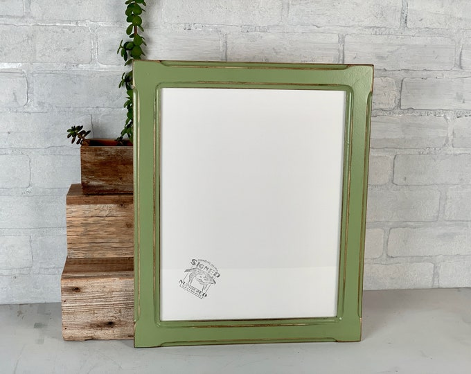 """11x14"""" Picture Frame - SHIPS TODAY - 1.5 Wide Bones Style with Super Vintage Guacamole Finish - In Stock - Handmade 11 x 14 Green Frame"""