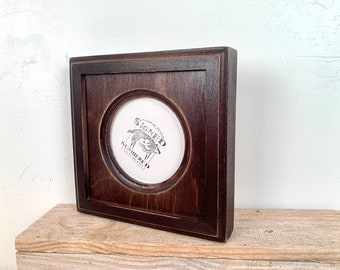 4x4 Circle Frame - SHIPS TODAY - Super Vintage Dark Wood Tone Finish Outside Cove Build up Circle Opening Frame - In Stock - 4 x 4 Round