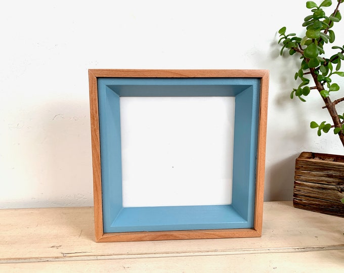 """6x6"""" Square """"Park Slope Plus"""" Build Up Frame with Solid Smokey Blue and Natural Wood Finish - 6 x 6 Photo Frame - IN STOCK Same Day Shipping"""