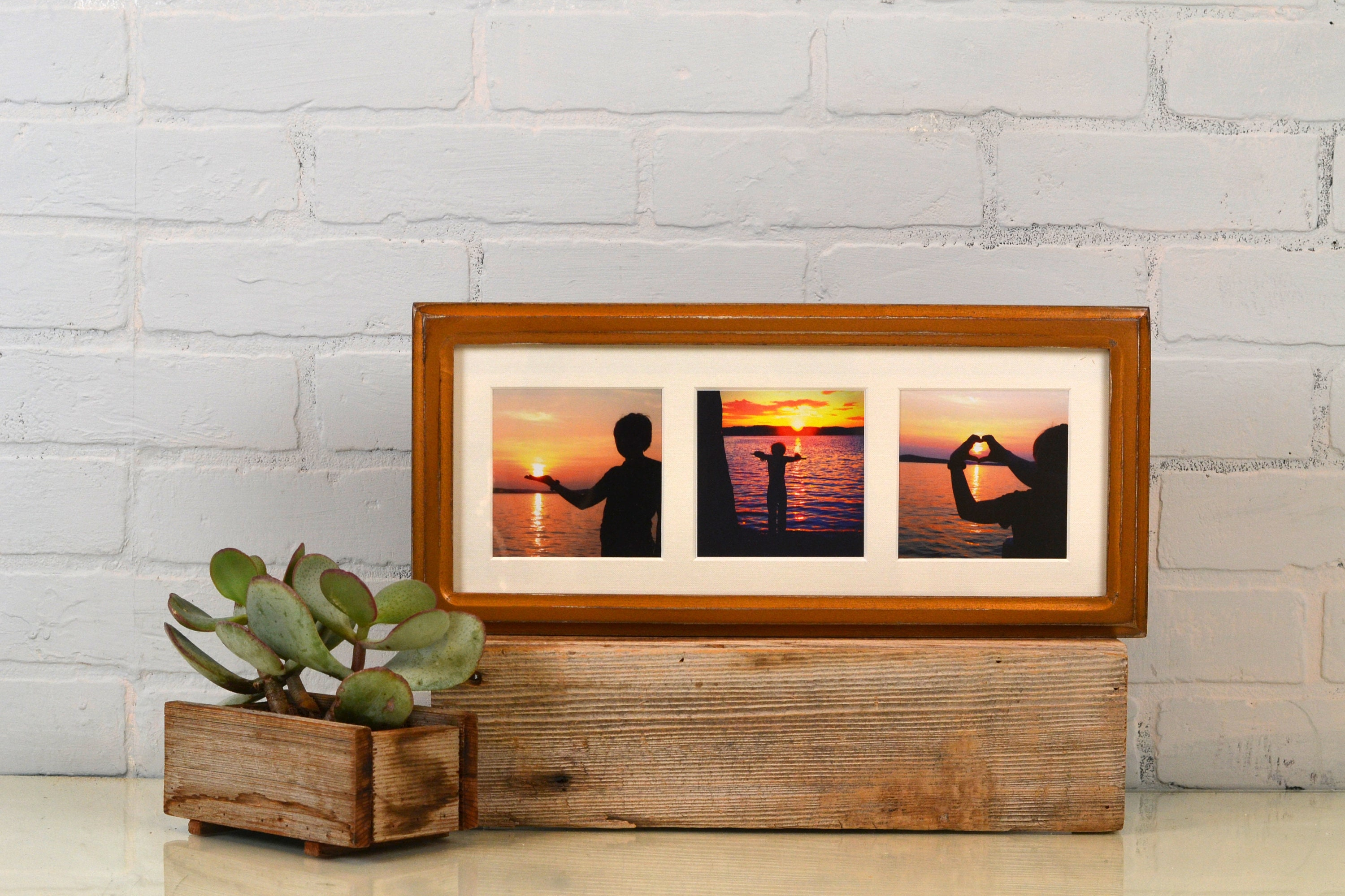 6x15 Picture Frame in Double Cove Style with Mat Window Openings for ...