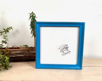 """8x8"""" Picture Frame - SHIPS TODAY - Foxy Cove Style with Vintage Cobalt Blue Finish - In Stock - 8 x 8 Square Photo Frame"""