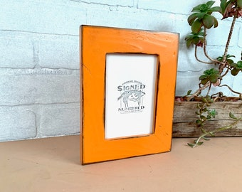 """4x6 Picture Frame  - SHIPS TODAY - 1.5"""" Reclaimed Cedar Wood with Super Vintage Orange Finish - In Stock - 4 x 6 Rustic Frame"""