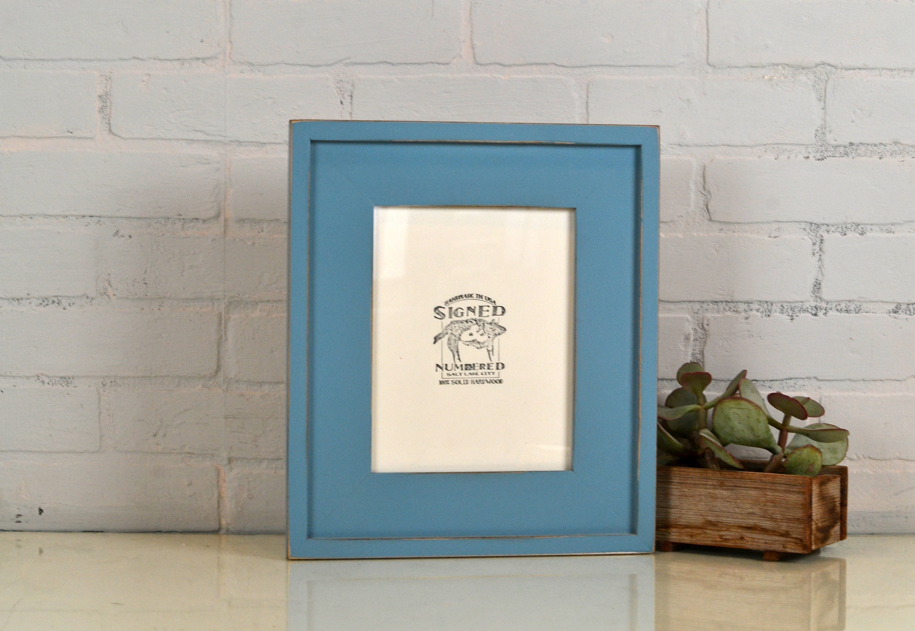7 X 9 Picture Frame In New Cottage Style With Vintage Smokey Finish