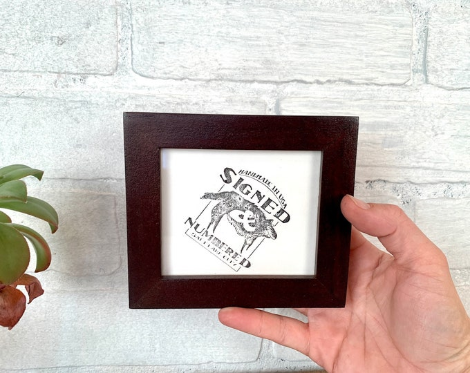 """3.25 x 3.75"""" Wallet Photo Picture Frame - SHIPS TODAY - Peewee Style with Solid Dark Wood Tone Finish - In Stock - Odd Size Frame"""