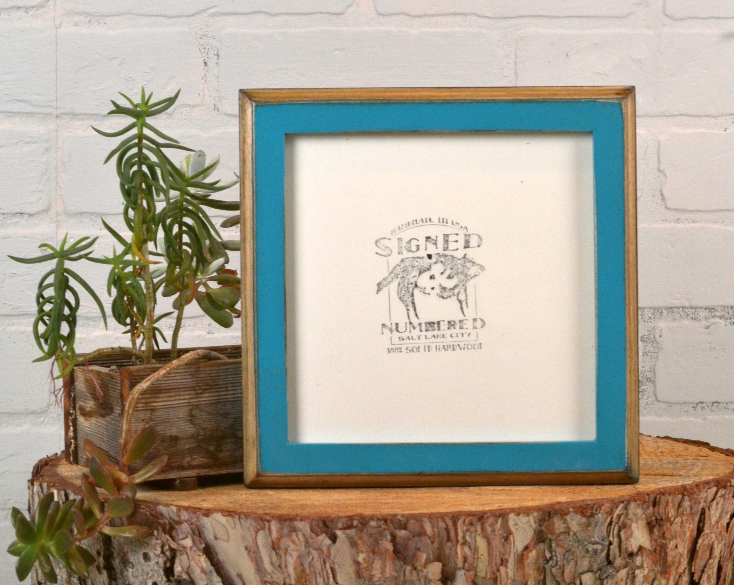 7x7 Square Picture Frame in 1x1 2-Tone Style with Vintage Turquoise ...