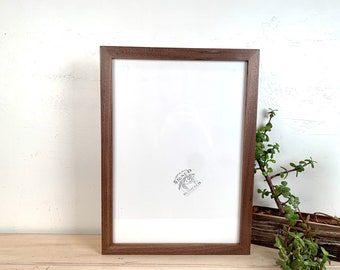 A3 Size Picture Frame - SHIPS TODAY - 1x1 Flat Style with Solid Natural Walnut Finish - In Stock - 297 x 420 mm - 11.7 x 16.5 inches