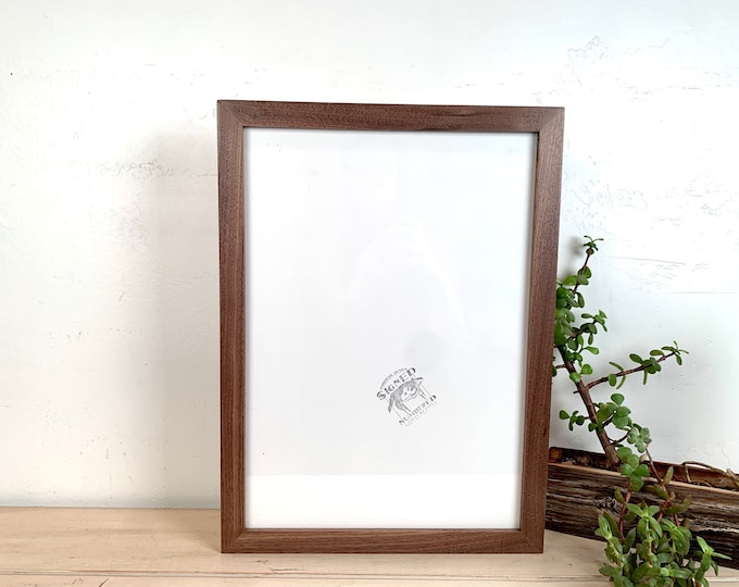 A3 Size Picture Frame - SHIPS TODAY - 1x1 Flat Style with Solid Natural Walnut Finish - 297 x 420 mm - 11.7 x 16.5 inches
