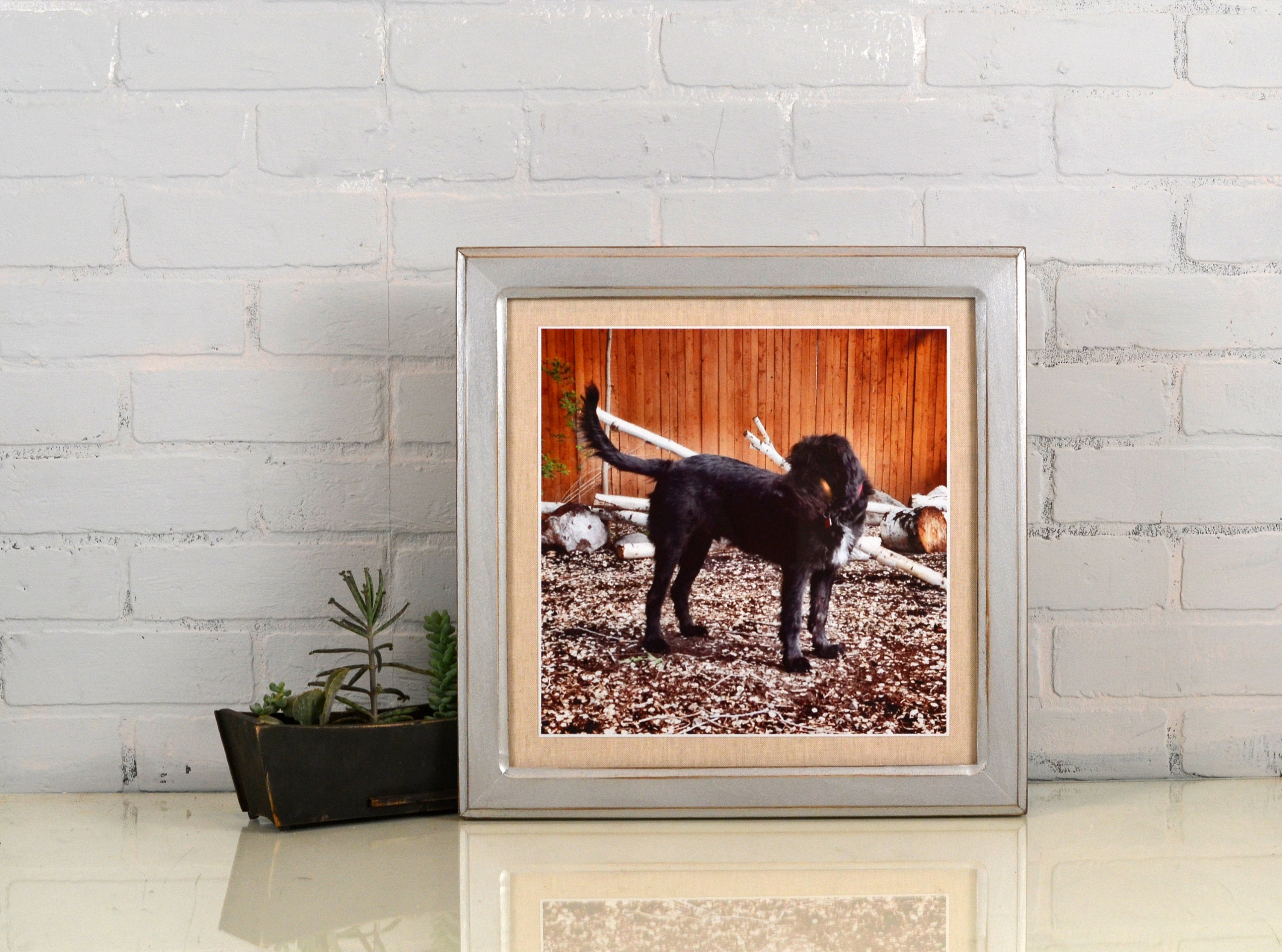 14X14 Square Picture Frame In Wide Double Cove Style With