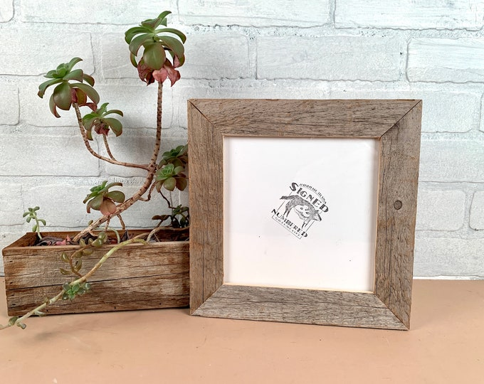 """7x7"""" Square Picture Frame - SHIPS TODAY - 1.5"""" Rustic Natural Reclaimed Cedar - In Stock - 7 x 7 inch Frames"""