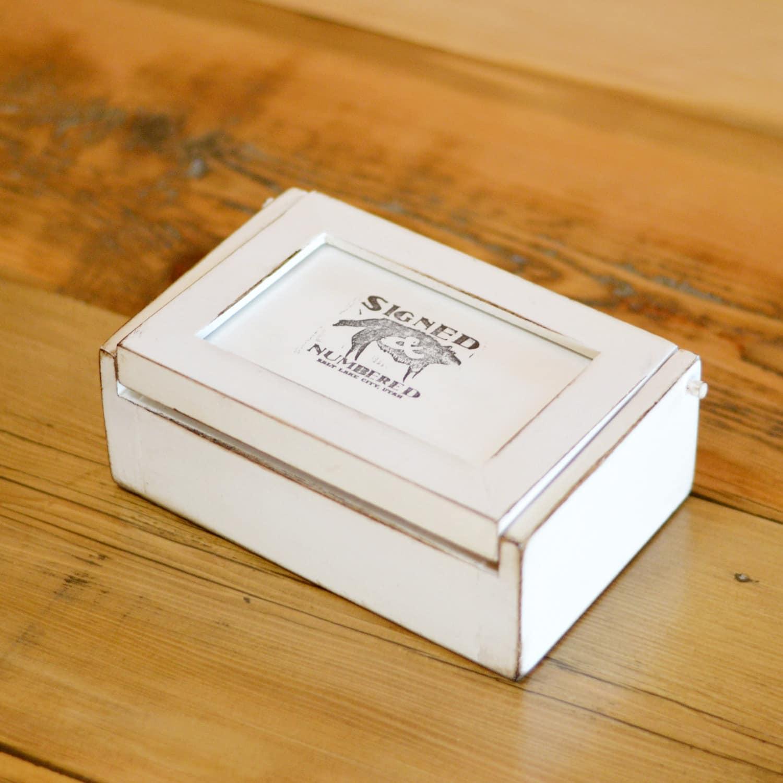 Handmade Wooden Keepsake Jewelry Trinket Pencil Box With 4x6 Picture