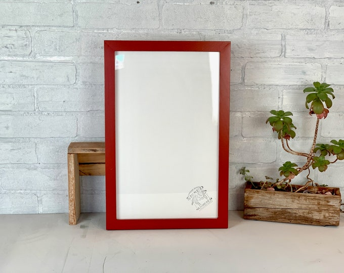 """10x16"""" Panoramic Picture Frame - SHIPS TODAY - 1x1 Flat Style with Vintage Brick Red Finish - In Stock - Handmade 10 x 16 Solid Hardwood"""