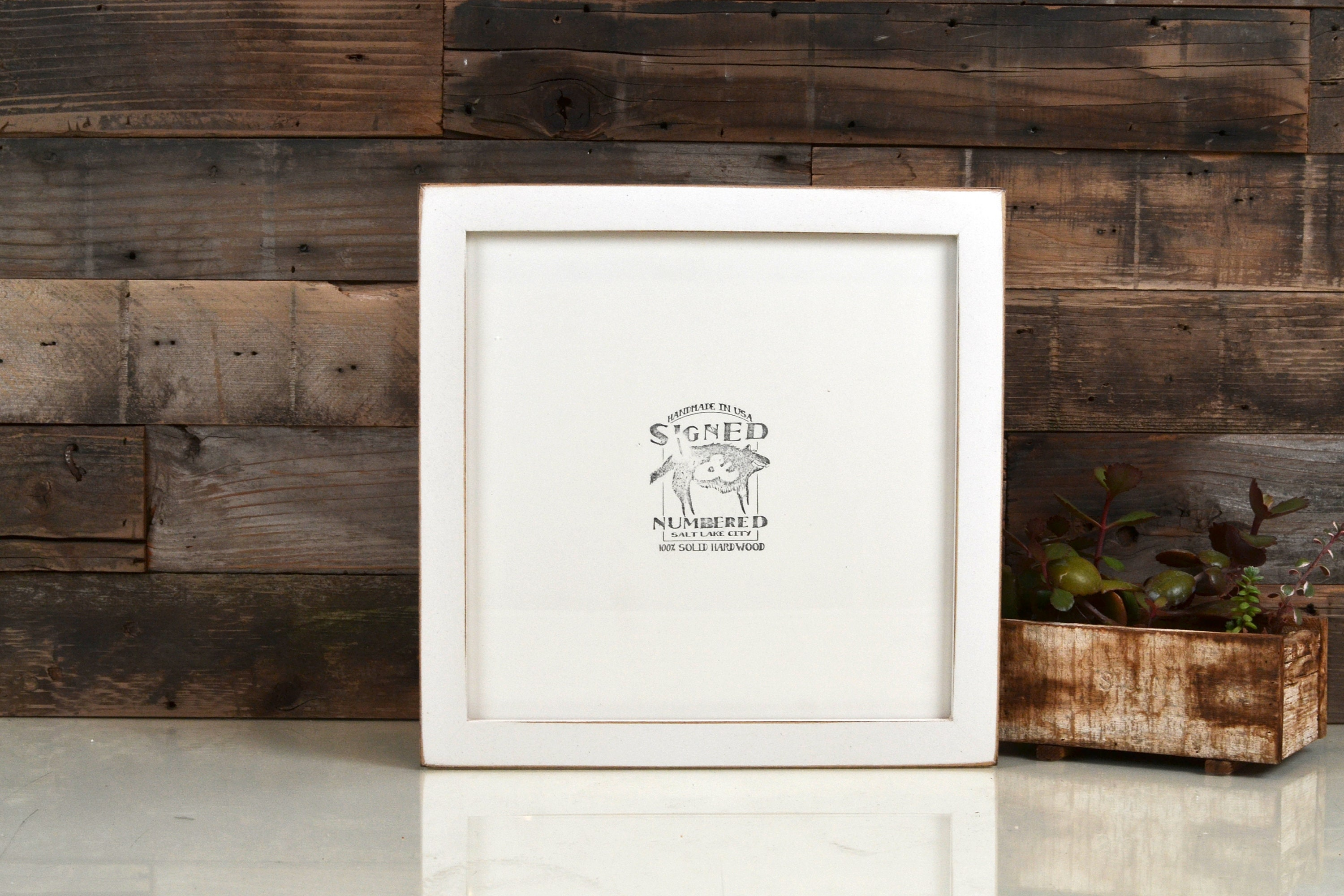 10x10 Picture Frame IN STOCK in 1x1 Flat Style with Vintage White ...