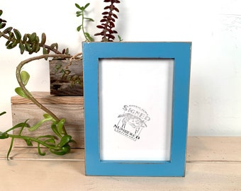 5x7 Picture Frame -SHIPS TODAY - 1x1 Flat Style with Vintage Blue Finish - In Stock - mid century decor 5 x 7 Photo Frame Blue
