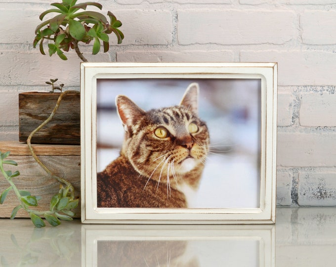 8x10 Picture Frame - SHIPS TODAY - 1x1 Double Cove Style with Vintage White Finish - In Stock - Rustic Solid Wood Frame 8 x 10