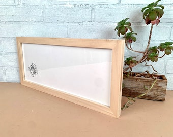 """7x17"""" Panoramic Frame - SHIPS TODAY - 1x1 Flat Style with Solid Natural Poplar Finish - Includes mat for 5x15 photo - In Stock Picture Frame"""