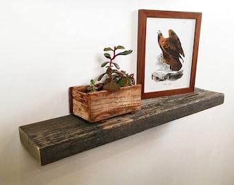 "Floating Shelf Reclaimed Wood - 24"" Wide Rustic Float Shelf Rustic Barn Wood - 5 inches Deep - Handmade Sturdy Floating Shelves"