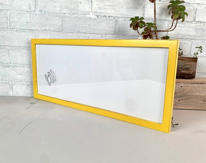 """8x20"""" Panoramic Frame - SHIPS TODAY - Peewee Style with Vintage Yellow Finish - 8 x 20 inch Photo Frame - In Stock - Includes Plexiglass"""