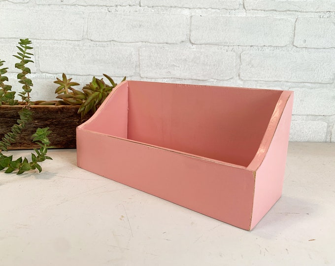 Personalized Desktop Letter / Mail / Organizer Box with Vintage Rose Pink Finish built from solid poplar hardwood - SHIPS RIGHT AWAY