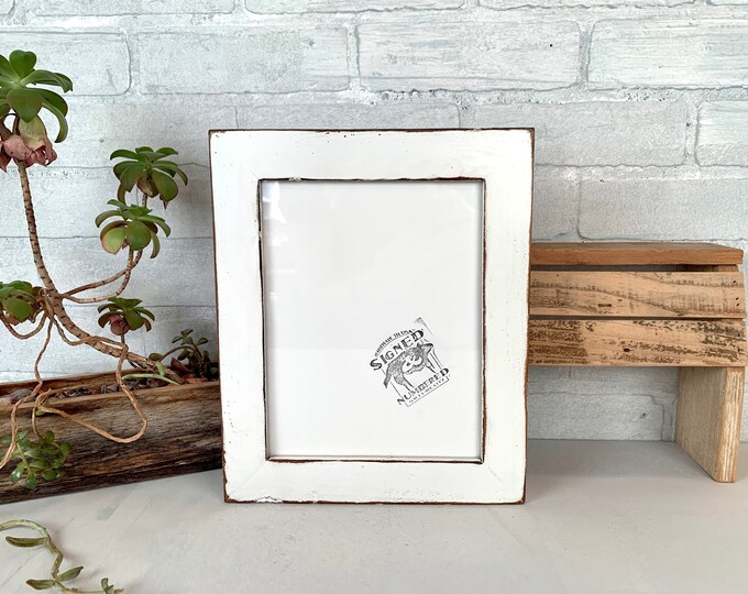 """7x9 Picture Frame - SHIPS TODAY - 1.5"""" Reclaimed Cedar Style with Vintage White Finish - In Stock - 7 x 9 Reclaimed Wood Frames"""