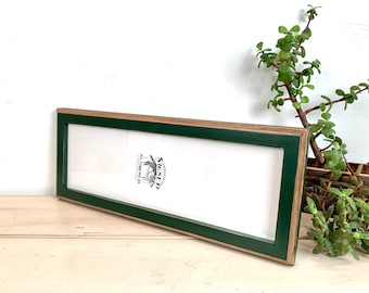 """5x15"""" Picture Frame - SHIPS TODAY - 1x1 2-Tone Style with Vintage Forest Green Finish - In Stock - 15 x 5 Panoramic Photo Frame"""