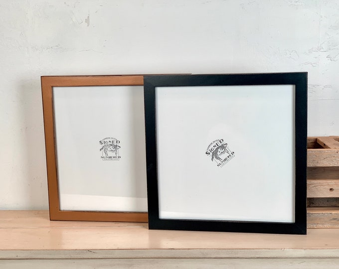 """12x12"""" Square Picture Frame - SHIPS TODAY - 1x1 Flat Style with Vintage Black or Roman Gold Finish - In Stock - 12 x 12 Wood Photo Frame"""