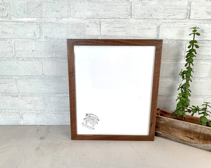 10x12 Picture Frame - SHIPS TODAY - Peewee style with Solid Natural Walnut Finish - In Stock - 10 x 12 inch Wood Frame Solid Hardwood