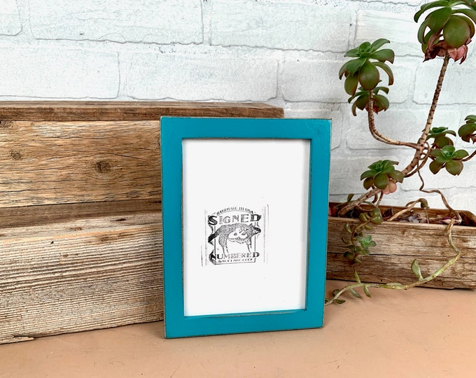 """5x7"""" Picture Frame - SHIPS TODAY - PeeWee Style with Turquoise Finish - In Stock - Gallery Frame 5 x 7 Blue Green"""