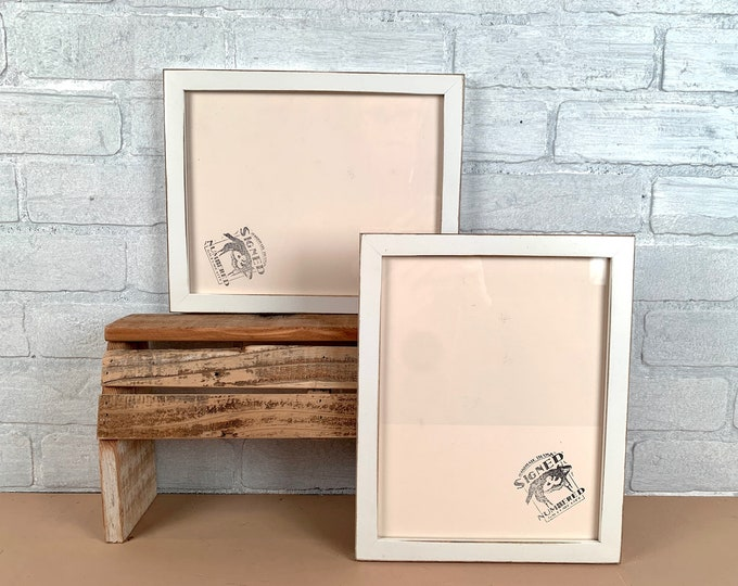 8x10 Picture Frame - SHIPS TODAY - Peewee Style with Vintage White Finish - In Stock - 8x10 Photo Frame Solid Hardwood