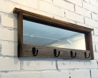 Entryway Mirror with Four Coat Hooks - Rustic Reclaimed Wood Coat Rack Mirror - Handmade Wooden Mirror with Hanging Hooks