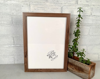 """8.25x11.5"""" Picture Frame - SHIPS TODAY - Peewee Style with Natural Walnut Finish - In Stock - Handmade Frame 8.25 x 11.5 inches"""