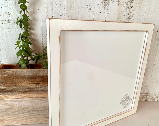 """12x12"""" Square Picture Frame - SHIPS TODAY - 1x1 Flat Style on Alder with White Wash  Finish - In Stock - 12 x 12 Beachy Wood Photo Frame"""