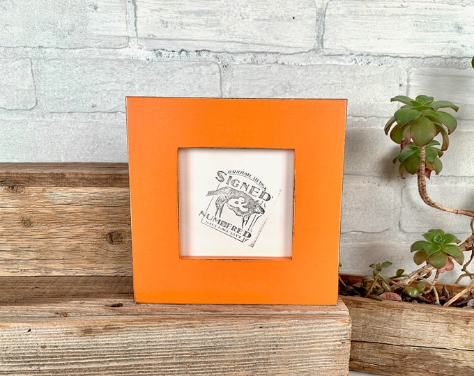 """4x4 Square Picture Frame - SHIPS TODAY - 1.5 inch Standard Style with Vintage Orange Finish In Stock - Frame Orange 4x4"""""""