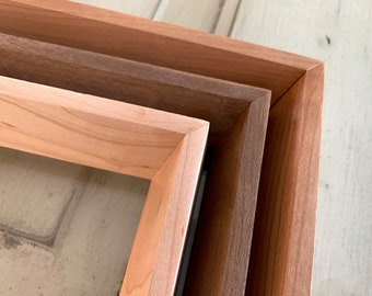 """Natural Hardwood of Your Choice in Park Slope style - Choose your frame size - 2x2 up to 18x24"""" - Modern Frame Free Shipping over 35 USD"""