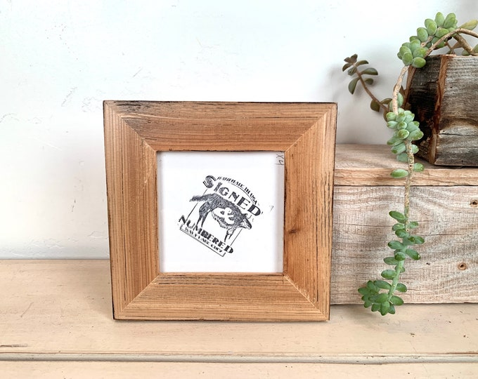 4x4 Reclaimed Wood Frame - SHIPS TODAY - Burnished Natural Finish - In Stock - Square 4 x 4 Cedar Picture Frame Upcycled Wood