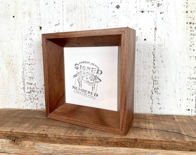 4x4 Solid Hardwood Frame - SHIPS TODAY - Park Slope Style with Natural Walnut - In Stock - Square 4 x 4 Picture Frame Modern Wood Decor