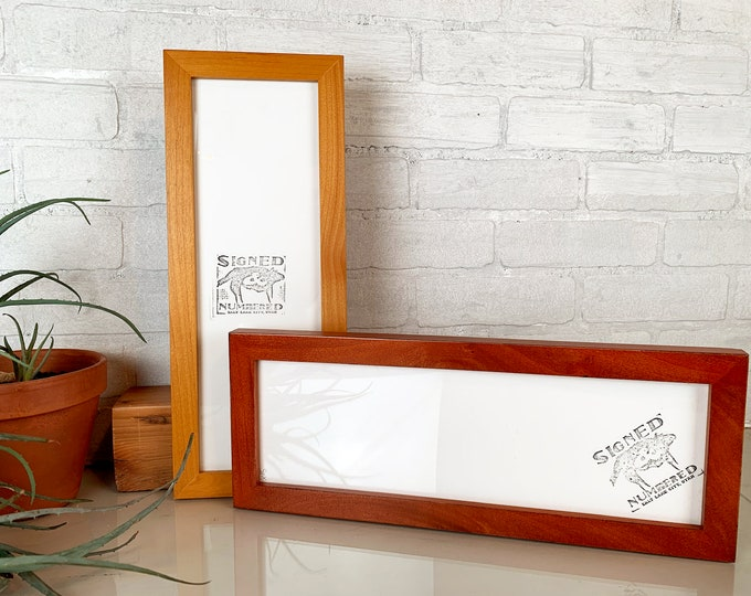 """5x15"""" Panoramic Picture Frame in 1x1 Flat Style and Vintage Color of Your Choice - 15 x 5 inch Photo Frame Odd Size"""
