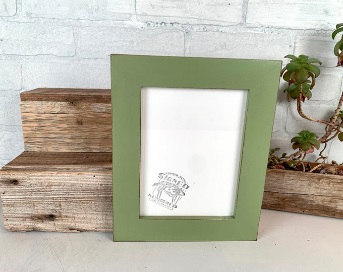 """6x8"""" Picture Frame - SHIPS TODAY - 1.5 Standard Style with Vintage Guacamole Green Finish - In Stock - 6 x 8 Picture Frames"""