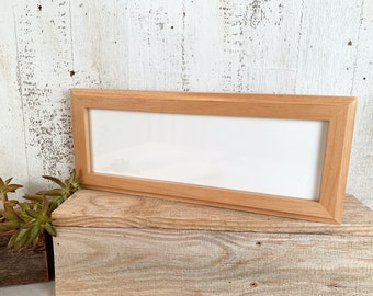 """4x12"""" Picture Frame - SHIPS TODAY - 1x1 Outside Cove Style with Natural Alder Finish - In Stock - 12 x 4 Panoramic Photo Frame Tan"""