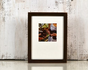 9x12 Picture Frame in 1x1 Flat Style with Vintage Dark Wood Tone Finish - IN STOCK Same Day Shipping - Handmade Frame 9 x 12 inch size