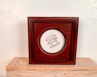 4x4 Circle Frame - SHIPS TODAY - Vintage Mahogany Finish Outside Cove Build up Edge Circle Opening Frame - In Stock - 4 x 4 Round