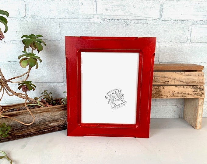 """6.3x8.3"""" Picture Frame - SHIPS TODAY - 1.5 Wide Bones Style with Vintage Red Dye Finish - In Stock - 6.3 x 8.3 inch Picture Frames"""