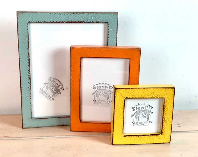 Super Vintage Color of Your Choice in 1x1 Alder Roughsawn Style Choose your frame size: 2x2 up to 18x24 inches - A4 size Picture Frames